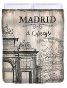 Vintage Travel Poster Madrid Duvet Cover