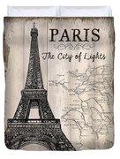 Vintage Travel Poster Paris Duvet Cover