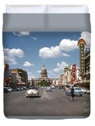 Vintage View Downtown Austin Looking Up Congress Avenue In Front Duvet Cover