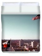 Vintage View Of The Texas And Usa Flags Flying On Top Of Texas State Capitol Duvet Cover