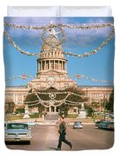 Vintage View Of The Texas State Capitol And Christmas Decorations Strung Along Congress Avenue From December 1960 Duvet Cover