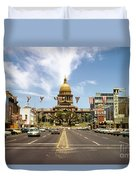 Vintage View Of The Texas State Capitol And Downtown Austin From September 1968 Duvet Cover