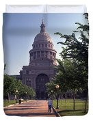 Vintage View Of The Texas State Capitol In Downtown Austin, Texas Duvet Cover