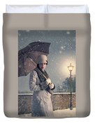 Vintage Woman With Coat Hat And Umbrella Outside In Snow Duvet Cover