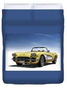 Vintage Yellow 'vette Duvet Cover