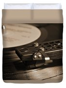 Vinyl Record Playing On A Turntable In Sepia Duvet Cover