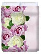 Violet  And White Roses Duvet Cover