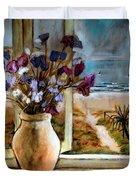 Violet Beach Flowers Duvet Cover