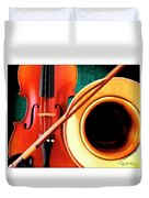 Violin And French Horn Duvet Cover