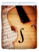 Violin And Musical Notes Duvet Cover