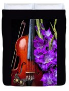 Violin And Purple Glads Duvet Cover by Garry Gay