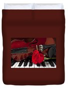 Violin And Rose On Piano Duvet Cover