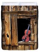 Violin In Window Duvet Cover