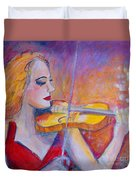 Violin Player Duvet Cover