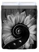 Violin Scroll And Sunflower In Black And White Duvet Cover