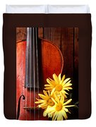 Violin With Daises  Duvet Cover