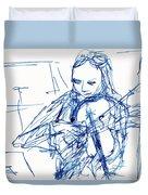 Violinist In Blue II Duvet Cover