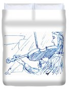 Violinist In Blue Duvet Cover