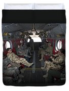 Vips In A Ch-47 Chinook Helicopter Duvet Cover