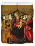 Virgin And Child Between Saint Peter And Saint Paul Duvet Cover