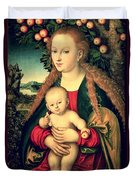 Virgin And Child Under An Apple Tree Duvet Cover