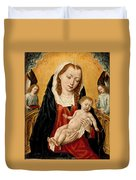 Virgin And Child With Two Angels Duvet Cover