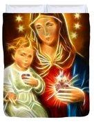 Virgin Mary And Baby Jesus Sacred Heart Duvet Cover