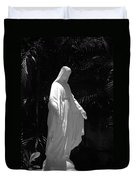 Virgin Mary In Black And White Duvet Cover