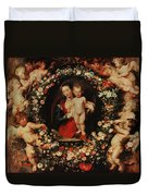 Virgin With A Garland Of Flowers Duvet Cover