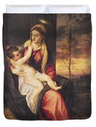 Virgin With Child At Sunset Duvet Cover by Titian