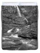 Virginia Falls Glacier Cascades - Black And White Duvet Cover