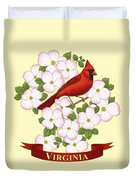 Virginia State Bird Cardinal And Flowering Dogwood Duvet Cover by Crista Forest