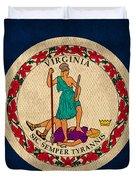 Virginia State Flag Art On Worn Canvas Edition 3 Duvet Cover
