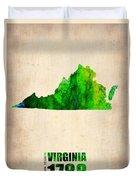 Virginia Watercolor Map Duvet Cover