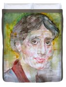 Virginia Woolf - Watercolor Portrait.7 Duvet Cover