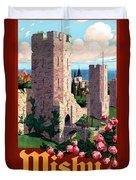 Visby Vintage Travel Poster Restored Duvet Cover