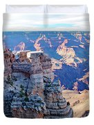 Visitors Dwarfed By Grand Canyon Vista Duvet Cover