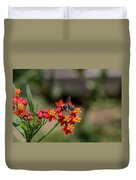 Visor Wearing Bee Pollinates A Colorful Flower Duvet Cover