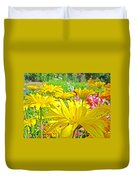 Vivid Colorful Yellow Daisy Flowers Daisies Baslee Troutman Duvet Cover