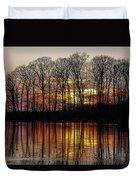 Vivid Sunset On The Lake In Olney Duvet Cover
