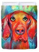 Vizsla Dog Portrait Duvet Cover