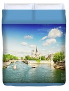 Notre Dame And River Seine Duvet Cover