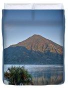 Volcano And Reflection Lake Atitlan Guatemala Duvet Cover