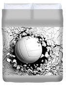 Volleyball Ball Breaking Forcibly Through A White Wall. 3d Illustration. Duvet Cover