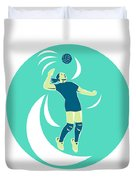Volleyball Player Spiking High Circle Retro Duvet Cover