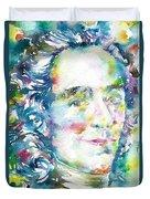 Voltaire - Watercolor Portrait Duvet Cover