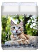 Volterra Italy Cat Watercolor Duvet Cover