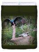 vulture with Skull Duvet Cover