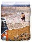 Vw Love On Beach Duvet Cover