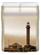 Wacky Weather At Point Arena Lighthouse - California Duvet Cover